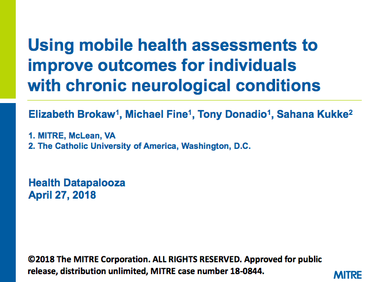 Using mobile health assessments to improve outcomes for individuals with chronic neurological conditions